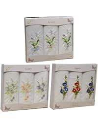 3 packs de 3 Womens/dames blanches mouchoirs avec broderie florale & bordure Satin, dans une boîte cadeau
