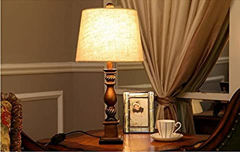 European fabric lamp bedroom bedside lamp creative living room lights antique lamps carved Hotel resin table lamp,Flax