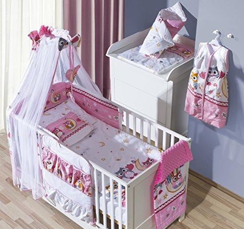 Belivin - Belivin® Baby & Juniorbett Milano inkl. Bettwäsche komplett Set - 140x70cm, 08 Eulen rosa