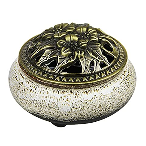 Vintage Ceramic Carved Incense Burner Holder Fit for Cone Stick Coil Incense (Light Grey-A)