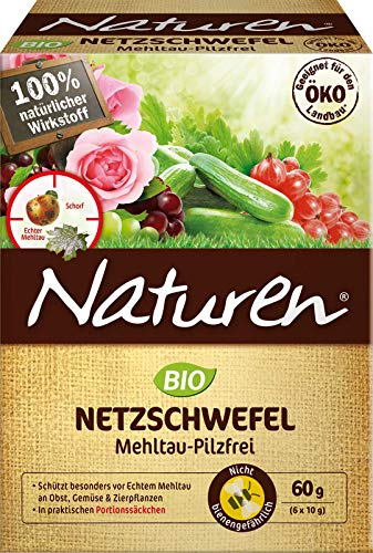 Naturen Bio Netzschwefel MehltauPilzfrei, Biologisches Spritzpulver gegenpilzlichePflanzenkrankheiten an Obst, Gemüse und Zierpflanzen, 6 x 10 g Portionsbeutel -