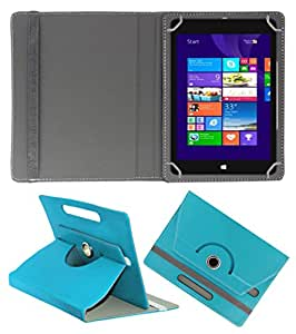 ACM ROTATING 360° LEATHER FLIP CASE FOR NOTION INK CAIN 8 TABLET STAND COVER HOLDER GREENISH BLUE