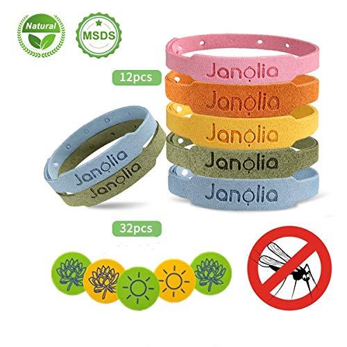 Janolia Repellenti di Zanzare, 12 Bracciale Antizanzare & 32 Adesivi Antizanzare, Set...