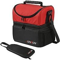 JUNDUN Bolsa Térmica con Bolso Accesorio para Llevar Cubiertos Almacenar alimentación y Bebida (Rojo)