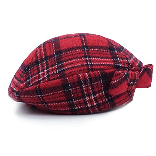 Baby Girls' Lovely Cute Beanie Hat,Keepersheep Baby Girls' Berets Hat with Bowknot (0-3 months, Red Plaid) (Red Cap Newsboy)