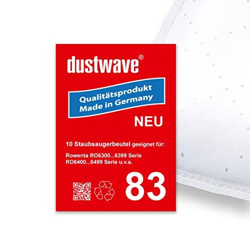 Sparpack - 10 Staubsaugerbeutel geeignet für Rowenta - Silence Force Compact RO6331 Bodenstaubsauger - dustwave® Markenstaubbeutel Made in Germany