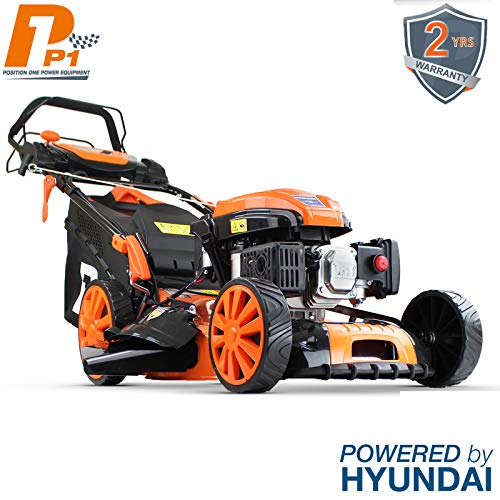P1PE Hyundai Engine P5100SPE 173cc Petrol Lawnmowers Self Propelled Electric Start 20 Inch 51 Centimetre Cutting Width, Steel Deck Lawn Mower, Included Engine Oil, Orange (2018 Model)