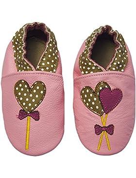 Rose & ChocolatRCC Polka Lolly Pink - Pantuflas de Aprendizaje Bebé-Niños