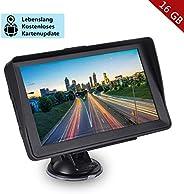 GPS Navigation für Auto, Aonerex 16GB 7 Zoll Touchscreen Navigationsgerät für LKW PKW KFZ Navi mit POI Blitzerwarnung Sprach