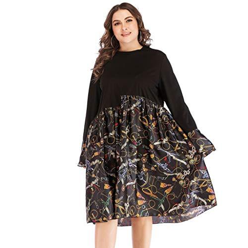 GOKOMO Damen Große Größen Maxikleid Blumenprint Langarm Sommer Kleid Kleid große größen Damen