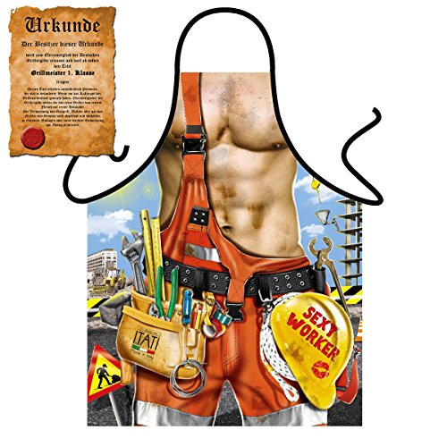 Sexy Grillschürze ! Top Scherzartikel zum Geburtstag, für Partys, Karneval,…: Sexy Worker !! GRATIS Urkunde dabei !! (Mann Bauarbeiter Kostüm)