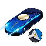 LINGAN Encendedor USB recargable resistente al viento sin llama 10 patrones de emergencia linterna bobina eléctrica encendedor de cigarrillos con cable USB caja de regalo, azul
