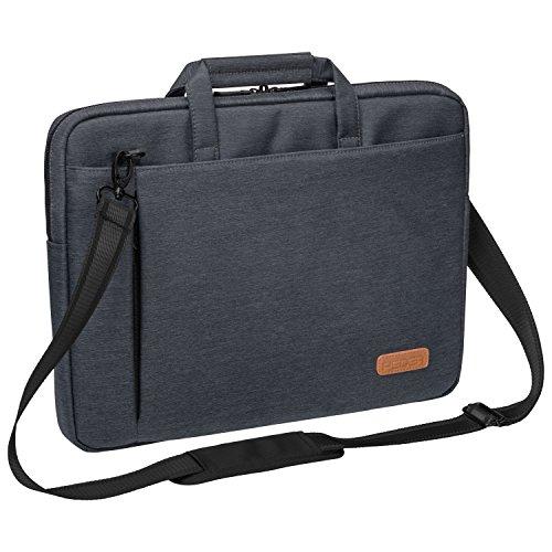 """PEDEA Laptoptasche \""""Elegance\"""" Umhängetasche Schultertasche Messenger Tasche für Notebooks bis 15,6 Zoll (39,6cm) inkl. Tablet-PC Fach bis 10,1 Zoll (25,9cm), grau"""