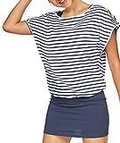 Jusfitsu Damen Ohne Arm Kleid aus Oversize Shirt 2-in-1(Set 2 tlg) Sommer Minikleid Standkleid (Blau, L)