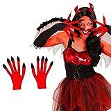 Mains de démon géantes gant diablesse Satan avec ongles noirs rouge monstre soirée enfer devil accessoire carnaval Halloween