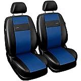 Saferide| Universal Vordersitze 1+1 Set Kunstleder Blau Sitzbezüge Sitzbezug für Auto Sitzschoner Set Schonbezüge Autositz Autositzbezüge Sitzauflagen Sitzschutz PKW X-Line