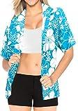 Beachwear Hawa�en Robe Chemise Manches Courtes Bouton Blouse Bas 1737 Dames t_Blue XL