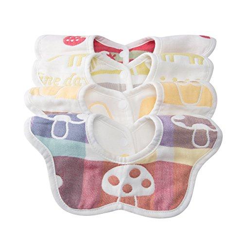 4er Set niedliche BABY SABBER-WENDE-LÄTZCHEN 360° DESIGN | Softe Textur 100% organische Baumwolle | Wohlbefinden für jedes Baby 3 Monate - Kleinkind 3 J | Spucktuch saugt Spucke + Verkleckertes auf