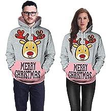 ZODOF Suéter de Navidad Sudadera con Capucha De Moda para Unisex, Sudadera con Capucha Unisex