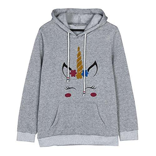LUVERSCO Frauen Einhorn Print Lange äRmel Kapuzenpulli Sweatshirt Springer Kapuzen Pullover (XL, Grau) (Champion Kleidung Hund)