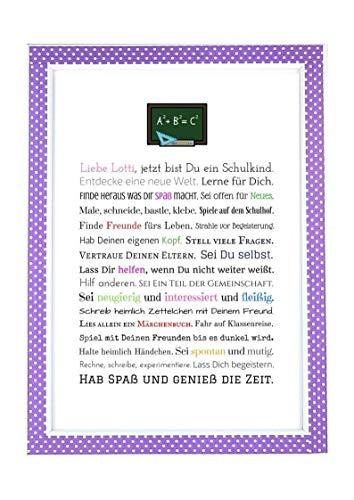 Personalisierbares Geschenk zur Einschulung, erster Schultag, Schulbeginn, Schultüte | Bild für Mädchen | als Gastgeschenk, kreative Verpackung für Geldgeschenk oder anstatt Glückwunschkarte