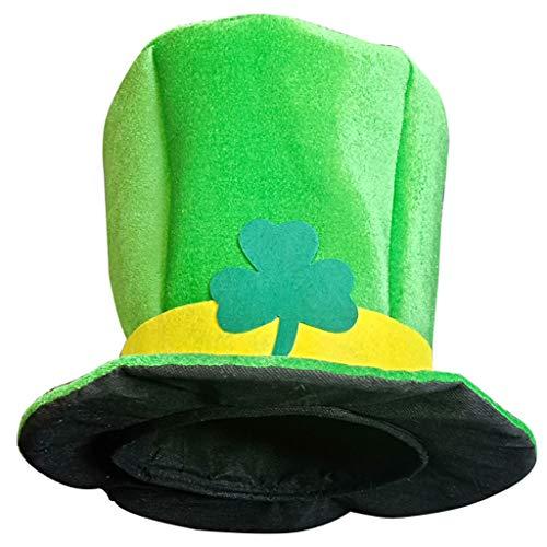 Mitlfuny Karnevalsparty Fancy Festival Zubehör,St. Patrick's Day grün irischen Erwachsenen Hut Shamrock Velvet Top Hat für Männer & Frauen (Top Hut Kostüm Männer)