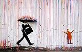 Time4art Banksy, stampa grafica su tela da 120 x 80cm, motivo: pioggia colorata