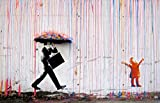 Time4art BANKSY Farbigen regen Coloured Rain Grafiken Print Canvas Bild auf Keilrahmen Leinwand 120cm x 80cm