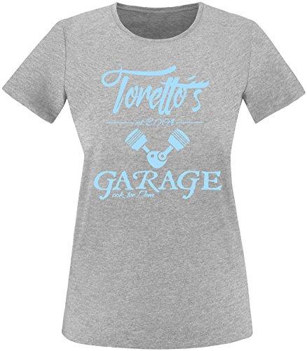 EZYshirt® Toretto´s Garage Damen Rundhals T-Shirt Grau/Hellblau