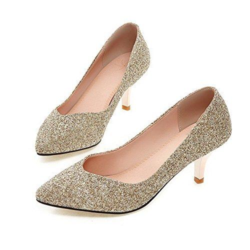 Paetês Em Agoolar Bombas Meados De Sapatos Calcanhar Toe Ouro Reinziehen Apontado Senhoras w5BOxp4qx