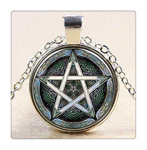 Ciondolo-pentacolo-pentagramma-wicca-pagan-Jewelry-Cupola-in-Vetro