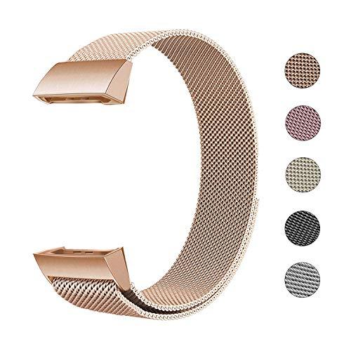 Defurhome Ersatzarmbänder Kompatibel für Fitbit Charge 3,Milanese Loop Edelstahl Verstellbare Ersatz Armbänder mit Magnetverschluss für Fitbit Charge 3,Klein- Roségold