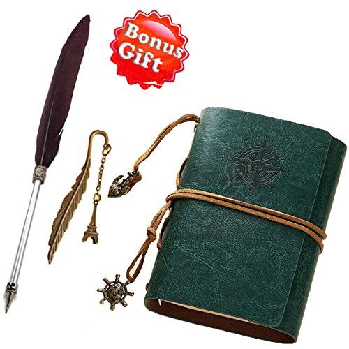 Tagebuch/Notizbucg mit Leder-Einband nachfüllbar mit speziellem Feder-Kugelschreiber und Lesezeichen, unliniert, handgefertigt, weiches, rustikales Leder, Vintage-Einband, Steam-Punk-Cover dunkelgrün