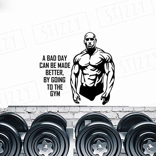 xingbuxin Wandtattoo Fitness Gym Mann Wandaufkleber Sport Spruch Abnehmbare Moderne Dekor Adhesive Power Poster Kunstwand Design 1 43x42cm
