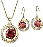 NEOGLORY Conjunto Collar Pendientes con Circonitas Rojo Cristales Blanco Joya Original Regalo Mujer Chica