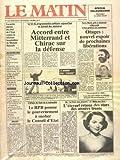 MATIN DE PARIS (LE) [No 3010] du 05/11/1986 - LA LOI DE PROGRAMMATION MILITAIRE - ACCORD ENTRE MITTERRAND ET CHIRAC SUR LA DEFENSE - TERRY WAITE PRET A RETOURNER A BEYROUTH - L'IRAN PRECISE SES CONDITIONS - LA REFORME HOSPITALIERE DE MICHELE BARZACH - A BORD DU FOCH - L'ETERNEL RETOUR DES STARS DES ANNEES 30 - L'AFFAIRE DU CODE DE LA NATIONALITE