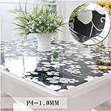 PVC-Tischdecke, Wasserdichtes Anti-Hot-Glas, Kunststoff, Couchtischsets, Weiche Tischdecke,80 * 120Cm
