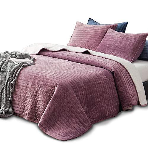 KASENTEX Bettwäsche-Set aus Plüsch und SAMT, luxuriöses Design, weich und warm, maschinenwaschbar Queen + 2 Shams Rosy Mauve