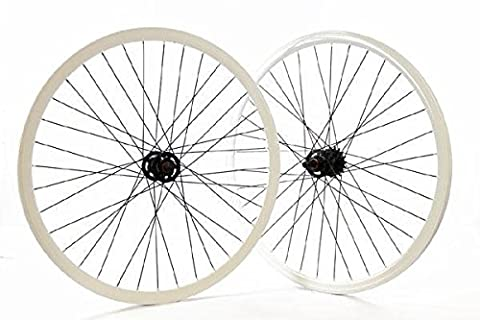Ridewell BIKE Paire de roues Profile de piste-Pignon Fixe Blanc 30 mm (fixe/Pair Pignon single speed Fixed wheels track rim white 30 mm (colour Wheel Fixed)