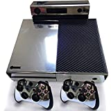 Xbox One Protective Vinly Skin Sticker Consola Decal Pegatinas + 2 Controlador & Kinect Skins Set (Glossy Silver)
