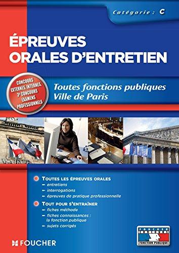 Epreuves orales d'entretien catégorie C Edition 2014