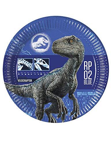 Generique - 8 Platos de cartón Jurassic World 2 23 cm