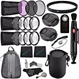 49mm 3 Piece Filter Set (UV, CPL, FL) + LENS CAP 49MM + 49mm +1 +2 +4 +10 Close-Up Macro Filter Set With Pouch + 49mm Multicoated UV Filter + Lens Cap Keeper + Cleaning Cloth + Remote Bundle