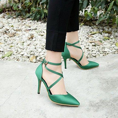 COOLCEPT Damen Mode Knochelriemchen Sandalen Stiletto Geschlossene Kreuz Schuhe Grun