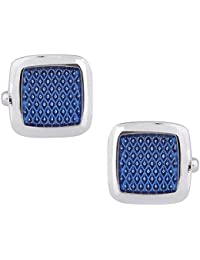 TRIPIN Cufflinks for Men Branded Silver Blue Square Shape for Office Corporate Wedding Party French Cuff Shirts Shirt Suit Blazer in A Gift Box