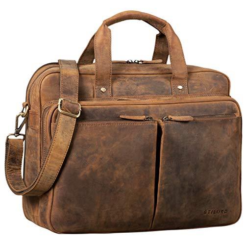 STILORD \'Remus\' Ledertasche Herren Umhängetasche Leder Aktentasche Groß 15,6 Zoll Laptoptasche Abnehmbarer Schultergurt Lehrertasche, Farbe:mittel - braun