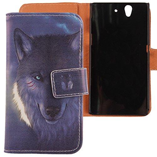 Lankashi PU Flip Leder Tasche Hülle Case Cover Handytasche Schutzhülle Etui Skin Für Sony Xperia Z L36H C6603 Wolf Design (Sony Xperia Z L36h Zubehör)
