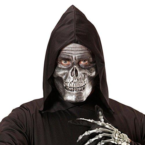 NET TOYS Totenkopf Maske Grusel Halbmaske Skelett metallic Sensenmann Horrormaske Grim Reaper Halloweenmaske (Grim Reaper Maske Für Erwachsene)