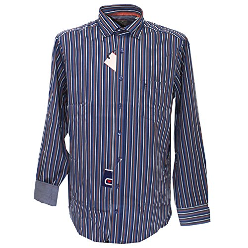 Casa Moda, Herren langarm Hemd, ,dichtes Baumwollgewebe,blau bunt gestreift [17536] blau bunt gestreift