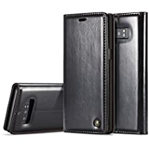 SongNi®PU Leather [Flip Magnetic] Wallet with Card Slots [Kickstand] for Samsung Galaxy Note 8-Black